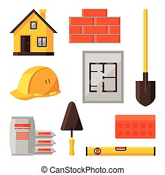 Industrial icon set of housing construction objects.