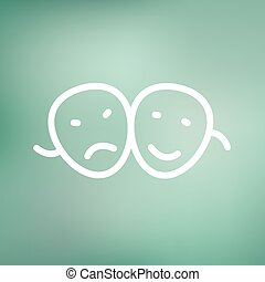 Two mask thin line icon - Two masks icon thin line for web...