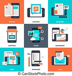 Mobile Applications - Abstract vector set of flat and...