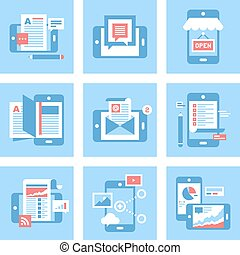 Mobile Applications - Abstract vector set of flat mobile...