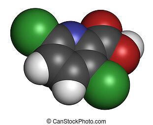 Clopyralid herbicide molecule.