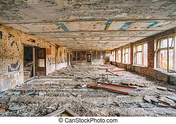 Dilapidated Abandoned House In Chernobyl Resettlement Zone....