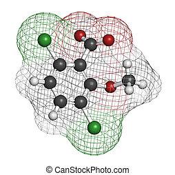 Dicamba, herbicida, molecule., utilizado, en, mala hierba,...