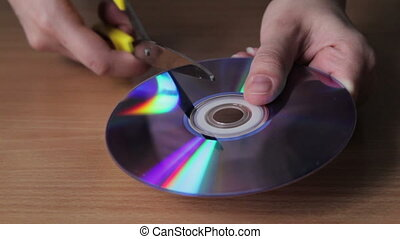 Cutting the disc with scissors