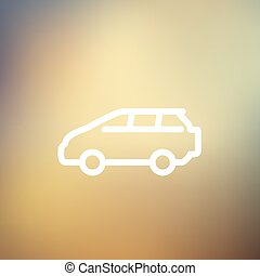 Minivan thin line icon - MInivan icon thin line for web and...