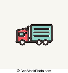 Delivery truck thin line icon - Delivery truck icon thin...