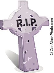 Cartoon Christian Tombstone With RI