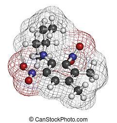 Pendimethalin, herbicida, molecule., Átomos, ser,...