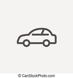 Car thin line icon - Car icon thin line for web and mobile,...