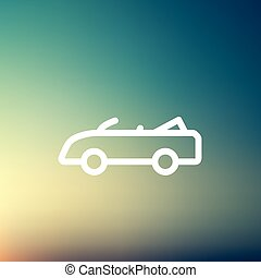 Convertible car thin line icon - Convertible icon thin line...