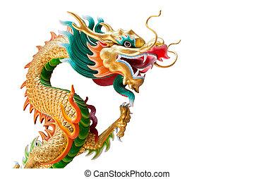 dragão, estátua, (, isolado, ),