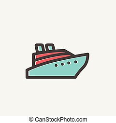 Cruise ship thin line icon - Cruise ship icon thin line for...