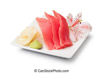 tuna sashimi with withe plate isolated on white background