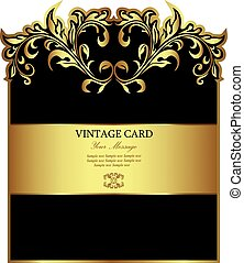 Golden vintage floral card