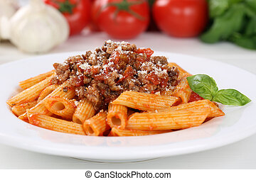 Italian noodles pasta Bolognese sauce meal on a plate
