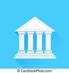 Greek Temple - Greek White Silhouette Temple Isolated on...