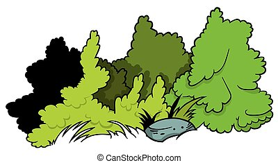 Shrubs and Boulder - Cartoon Illustration, Vector