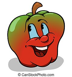 Apple With Big Smile - Cartoon Illustration, Vector