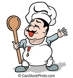 Cook - Colored Cartoon Illustration, Vector