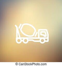 Concrete mixer truck thin line icon - Concrete mixer truck...