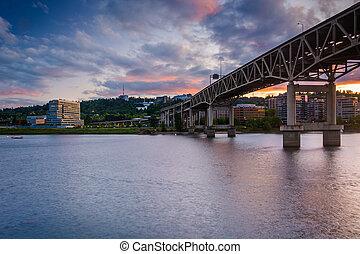 The Marquam Bridge at sunset, in Portland, Oregon.