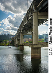 The Marquam Bridge over the Williamette River, in Portland,...