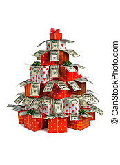 Christmas gift tree with banknots of dollars isolated on...