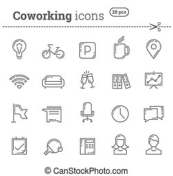 Coworking icons set Stock vector - Coworking icons set Pack...