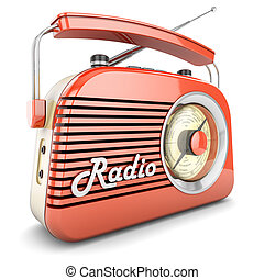 Retro radio orange - Radio retro portable receiver red...