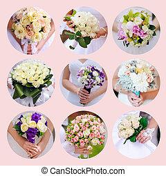 美麗, 拼貼藝術, 相片, 九, 婚禮, 花束
