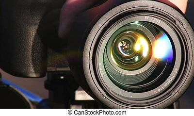Zooming Lens Close-up shot of professional camera HD 1080