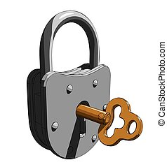 Padlock with a key