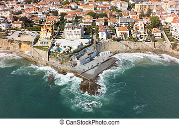 Aerial view of Estoril coastline near Lisbon in Portugal