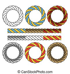 Round frames made of colored twisted cords and six elements...