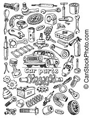 Car parts in freehand drawing style with the image of a...