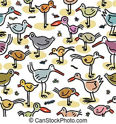 Seamless pattern consisting of images of birds