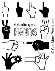 Stylized images of hands