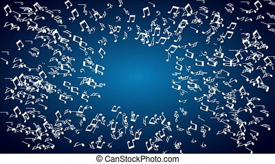 Music, Video animation - musical notes on blue background,...