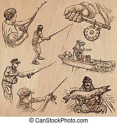 pesca, -, un, mano, dibujado, vector, Paquete,