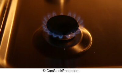 Small gas burner - A small gas burner with blue flames in...