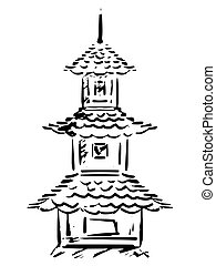 pagoda - sketch, hand drawn illustration of pagoda