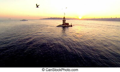 Maidens Tower, Istanbul. Aerial - Flying over Bosporus...