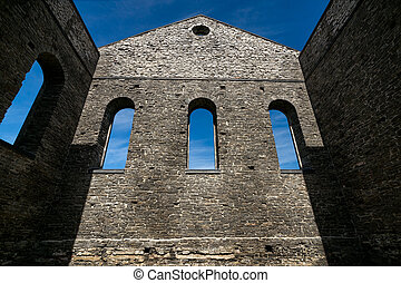 Stone Wall of Ancient Church Ruins with Gothic Windows -...