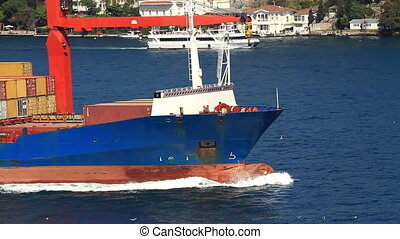 Containers and international cargo - Deck of containers and...