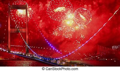 Amazing fireworks all around city - Bosphorus, Istanbul New...