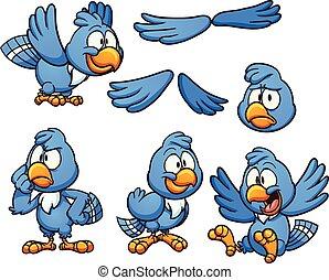 Blue bird - Cartoon blue bird in different poses. Vector...