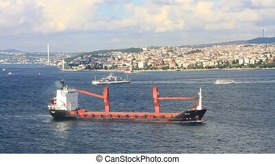 Cargo ship sails in to Marmara Sea Timelapse
