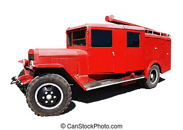 fire-engine - retro red fire-engine isolated including...