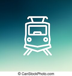 Front view of the train thin line icon - Front view of the...