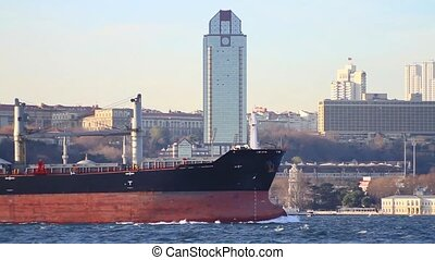 Close up of large freighter ship - Bulk carrier ship sails...